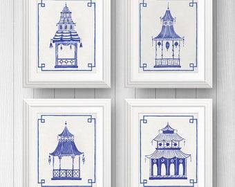 Chinoiserie Art - Pagoda - Blue and White - Chinoiserie - Chinoiserie Print - Blue and White Art - Set of 4 Prints