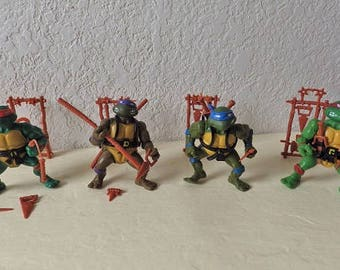 First Edition Soft Head TMNT Figures, 1988. Complete with Weapons. Rare. Highly Collectible.