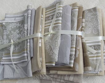 Bundle Vintage French Fabric Soft Woven Brocade Damask ticking Beige Buff Grey  Scraps Offcuts