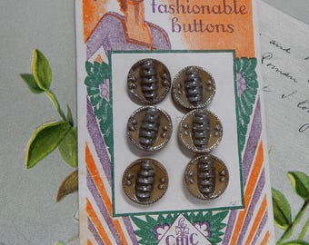 6 Vintage LE CHIC Czech TAN Glass Buttons w/ Silver Luster Accents on Original Card    OBX13