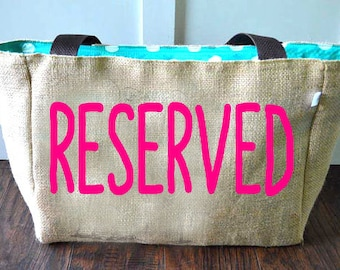 RESERVED FOR HILDA 1 Custom Burlap Market Tote