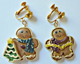 Earrings  Clip On Gingerbread Boy and Girl   Vintage 1980's Christmas in July