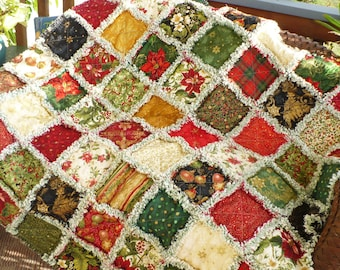 Christmas Rag Quilt Traditional Elegant Floral Christmas Quilt Holiday Flourish Poinsettias Holly Red Green Gold Gift Lap Throw Ready 2 Ship
