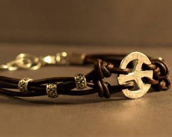 Leather Bracelet-Women Bracelet-Brown Bracelet-Women Leather Bracelet-Peace Charm Bracelet-Sterling Silver Bracelet-Friendship Bracelet-Gift
