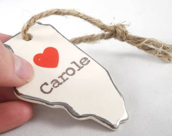 custom any state ornament custom choose a city ornament with heart pinpoint personalized name ornament silver rim present tags valentine tag