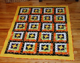 Halloween quilt black orange yellow lime white throw or lap size 58 x 46 inches