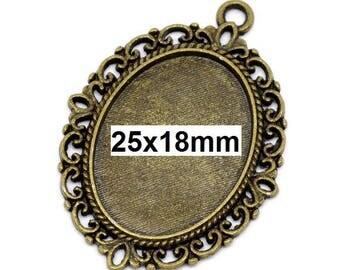 10 pcs. Antique Bronze Oval Pendant Picture Photo Frame Bezel Setting Pendants Charms - 25mm x 18mm Glue Pad for Cabochons - 25x18mm