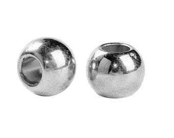 100 pcs Silver Plated Smooth Ball Spacer Beads - 10mm - Large Hole: 4.7mm - Fits European Cords and Paracord!