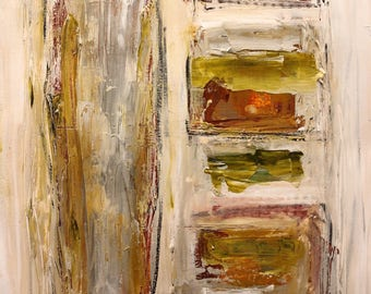 "Original abstract painting acrylic and pastel on paper ""The Struggle to Find"""