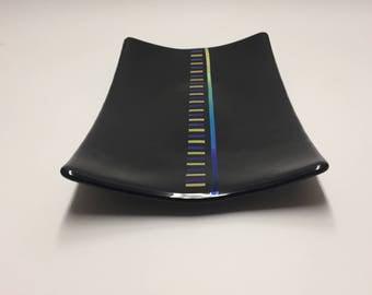 Black Fused Glass Serving Platter, Black Serving Tray