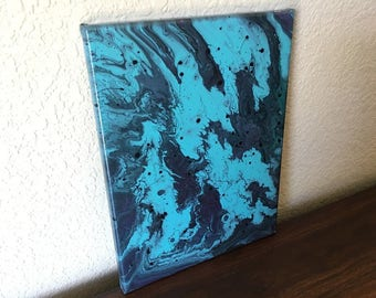 OOAK 9x12x1 Abstract Acrylic Pouring on Stretched Canvas