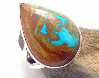 Chrysocolla Sterling Silver Ring Size 6.5 earthegy #2624