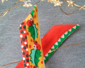 Cute Christmas Dolly Bow Bendable Wired Headband - upcycled 1970s fabric - 1950s Retro - Size: long