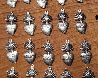Ex voto Charms MIlagro Hearts 20 Antiqued Silver Sacred Hearts Mexican Great For Weddings  Celebrations