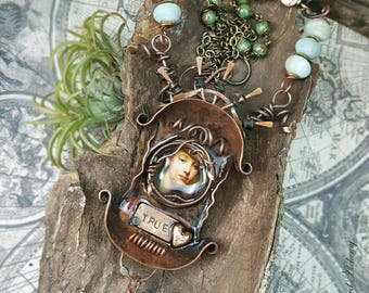 Lady from the Past - Mixed Media Art Jewelry