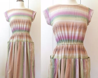 70s rainbow dress, pastel stripes with pockets, Japanese vintage XS S