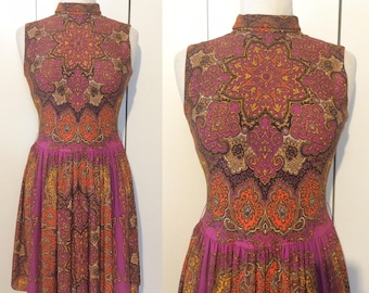 70s mod dress, psychedelic Indian print, XS S M