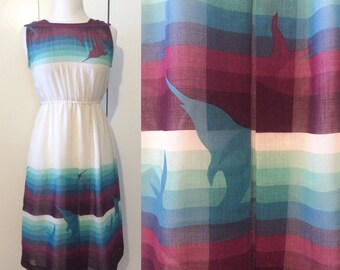 70s dolphin dress, Japanese vintage Xs S