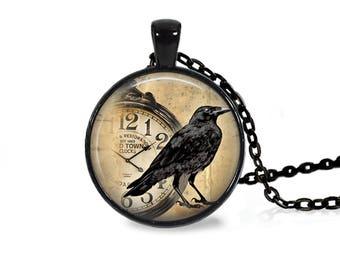 "25mm Raven w/ Pocket Watch Cabochon Black 18"" Necklace"