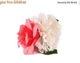 FLASH SALE Ivory Chrysanthemum and Flamingo Pink Veined Rose Pinup Hair Flower Fascinator Clip