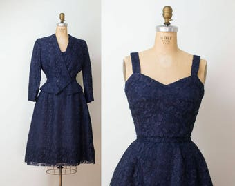 1950s Christian Dior Dress / 50s Navy Blue Lace New look Dress
