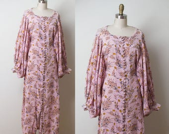1970s Pink Indian Gauze Dress / 70s Bishop Sleeve Butterfly Floral Print Maxi Dress