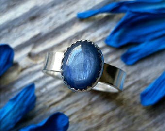 Blue Kyanite Ring sz6 Sterling Silver Size 6 Stone Gemstone 925 Jewelry For Her For Him