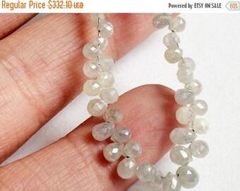ON SALE 55% 6 Pcs White Diamond Faceted Briolette Beads, Natural Sparkling Rough Diamond Tear Drops, Raw Diamonds - DSA3