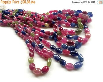 ON SALE 55% Multi Sapphire & Ruby Beads, Multi Sapphire Plain Oval Beads, Multi Sapphire Statement Necklace 9-10mm, 10 Pcs - AGA71