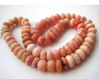 ON SALE 55% Pink Opal Beads, Peruvian Pink Opal Beads, Opal Rondelles, 12mm Each, 8 Inch Half Strand