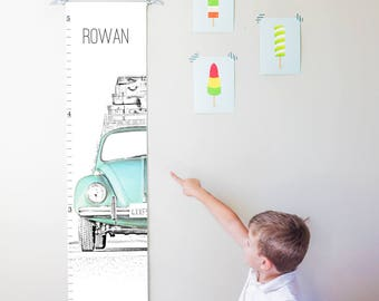 Custom/ Personalized VW Beetle/Bug canvas growth chart in blue - boy, girl, or gender neutral nursery decor or baby shower gift