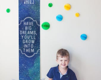 "Custom/ Personalized Starry ""Have Big Dreams"" growth chart - Astronomy/Space boy, girl, or gender neutral nursery or baby shower gift"