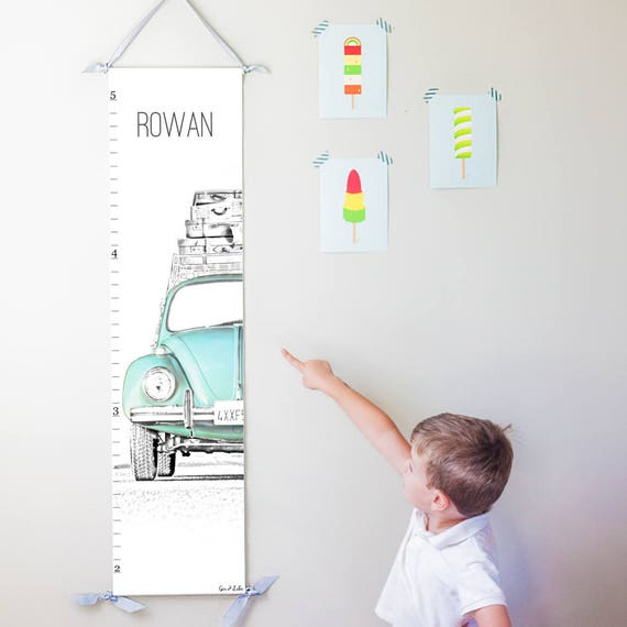 Personalized VW Beetle canvas growth chart in blue