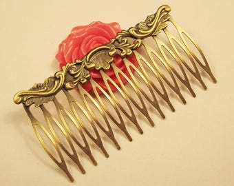 12 combs, blank combs, metal hair combs, Filigree flower hair combs, Antique Bronze hair combs tray, 14Teeth combs cabochon settings