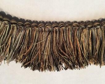 Brush FRINGE in brown black silver  2 inch