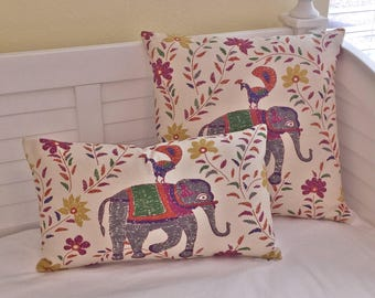 Special Order for Meagan -Elephant and Bird Designer Lumbar Pillow Cover and Pillow Insert