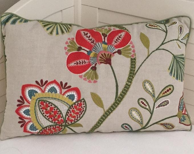 Christmas Pillow, FREE SHIPPING, Cowtan and Tout, Carimbo Red and Green Lumbar 16x24 Designer Pillow Cover, Jane Churchill fabric