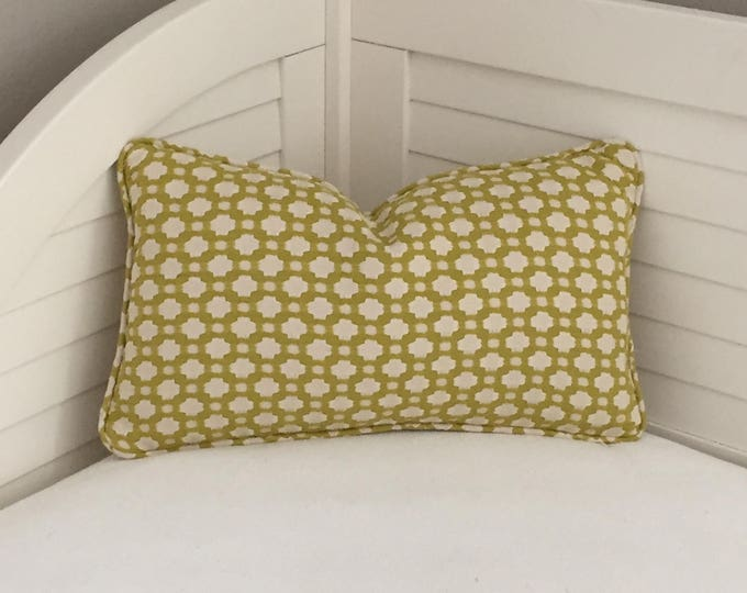 Schumacher Betwixt in Chartreuse Designer Pillow Cover with Self Welt. - Both Sides or Front Only - Square, Euro and Lumbar Sizes