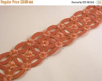ON SALE Melon Embroidered/Sequins Circular Design Trim--One Yard