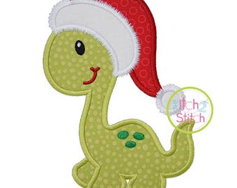 Dino in Santa Hat Applique design for machine embroidery, shown with our Shake It Off font NOT Included, INSTANT DOWNLOAD