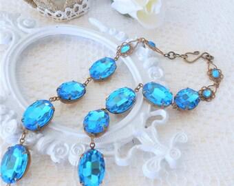 Blue Necklace, Blue Zircon Necklace, Blue Collet, Dark Aqua Collet Choker, Glass Jewel Necklace, Estate Style Jewelry, Art Nouveau, Art Deco