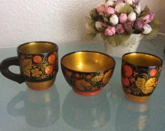 Vintage Russian Khokhloma Folk Set 3 Pc Bowl 2 Cup Handcraft