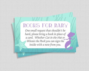 Books For Baby, Mermaid Baby Shower Invite Insert, Baby Girl, Bring a Book in Place of a Card, DIY Printable, INSTANT DOWNLOAD