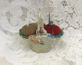 Vintage Basket Pin Cushion - Basket Pincushion - Vintage Sewing - Miniature Basket - Pins and Needles Storage