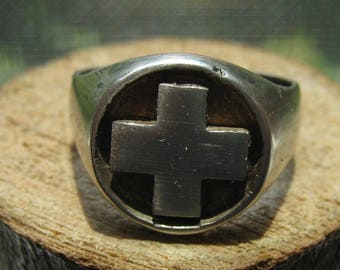 Vintage Men's Sterling Silver Cross Ring Size 10 Old Ring