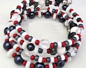 Patriotic Bracelet, Memory Wire Bracelet, Multistrand Bracelet, Red White Blue 4th of July Bracelet, Gift for Her, One Size Fits Most