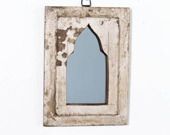 Moroccan Mirror Vintage Wood Framed Mirror Reclaimed Wood Wall Art Distressed White Turkish Decor