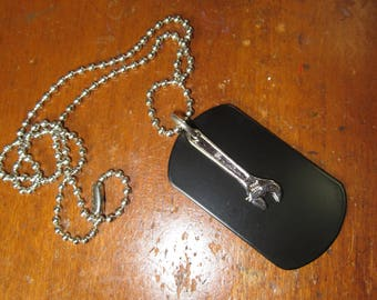 1980's Vintage Wrench, with black dog tag on ball chain