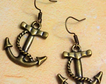 Elegant Antique Bronze Anchor Earring