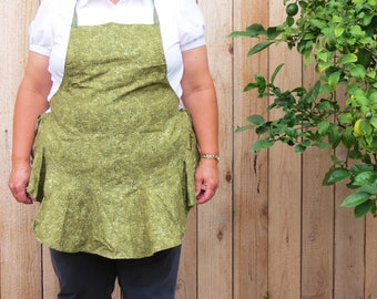 Ruffled Apron:  Camouflaged Olive Green Vines